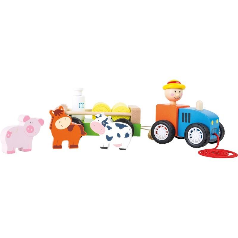 Tractor de madera, Granjero con animales
