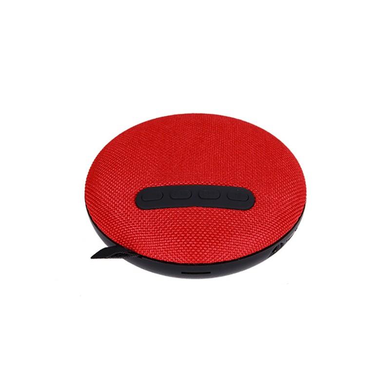 Altavoz Bluetooth Mini - altavoz bluetooth de color rojo; zona de botones de reproducción (bluetooth 4.2, lector micro sd, entrada audio universal 3.5 mm, manos libres, textura de tela)