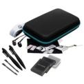 Ardistel Starter Pack New Nintendo 2DS XL - Color negro (con cremallera azul) - El pack incluye: Estuche de transporte, 2 x Protectores de pantalla, Gamuza de limpieza, Alisador de burbujas, Correa de cuello, auriculares, 2 x sylus, estuches para tarjetas