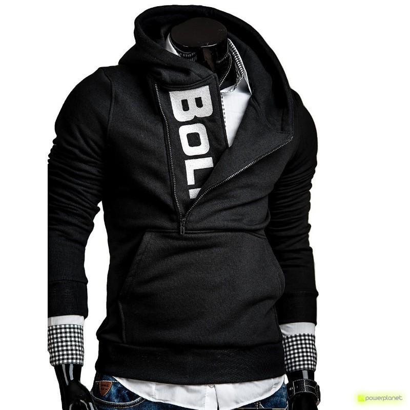 Sudadera Lateral Zipper negro y blanco - Hombre