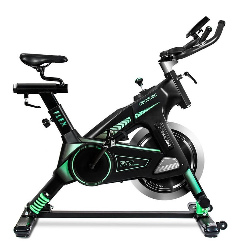Bicicleta Cecotec Spin Extreme Ultra flex - Sistema de amortiguación UltraFlex. Volante de inercia de 25 kg. Silenciosa. Ergonómica. Sillín deportivo. Manillar de triatlón. Resistencia variable. Freno de emergencia. Pantalla LCD. Pulsómetro. Calapiés.
