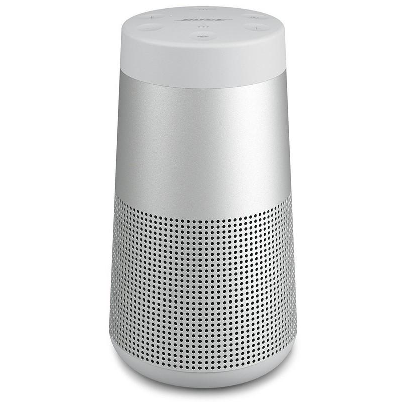 Bose SoundLink Revolve Cinzento - Cor Cinzento - 12 Horas Autonomia - Resistência IPX4 - Defletor Acústico Omnidirecional - Som de 360º - Dois Radiadores Passivos - Aplicação - Indicações de Voz - Transdutor - Suporte de Rosca Universal