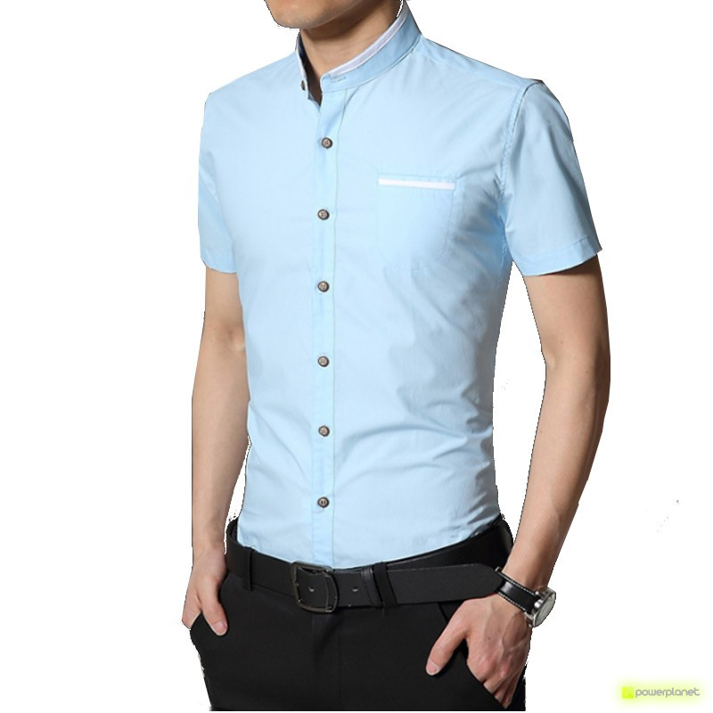 Camisa Slim Line Basic Azul - Hombre
