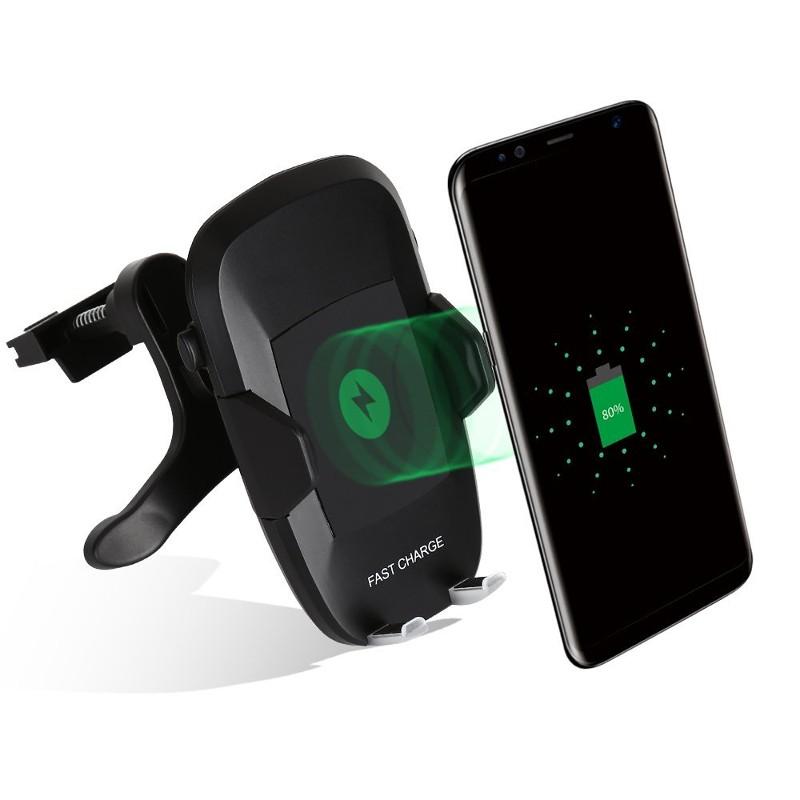 Cargador Inalámbrico Qi con soporte para coche F100 - Soporte para coche con cargador Qi integrado (cara inalámbrica) ajustable en 360º