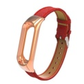 Red leather strap and metallic case for Xiaomi Mi Band 3