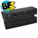 Dobe Hub 5 Puertos PlayStation 4 - Interfaz de 4 puertos usb (1 puerto 3.0) vista por delante