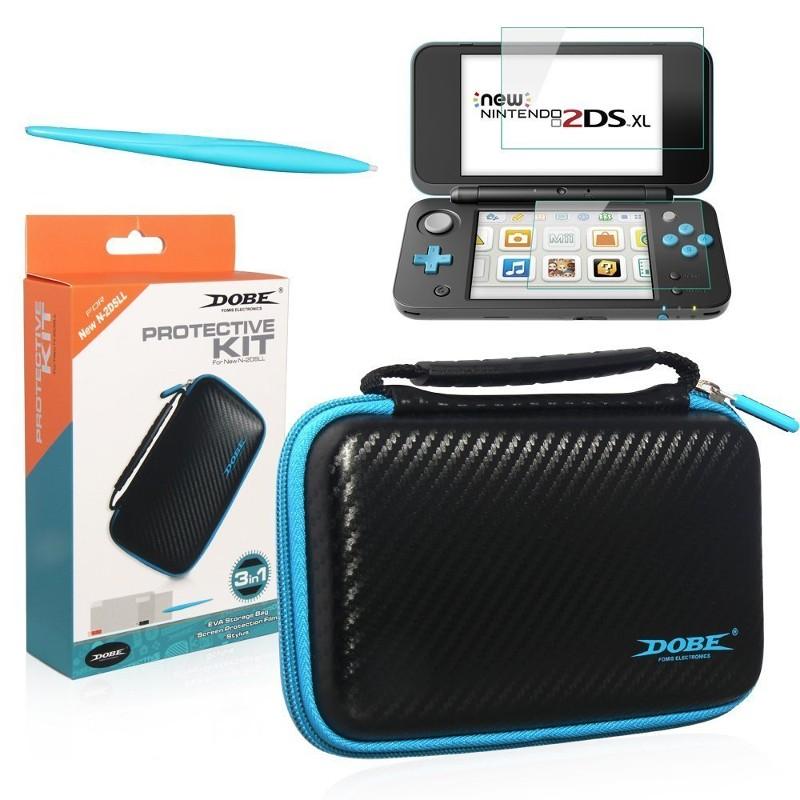 Dobe Funda + Protector de pantalla NEW Nintendo 2DS XL - Imagen del pack; palo táctil, funda y protector de pantalla