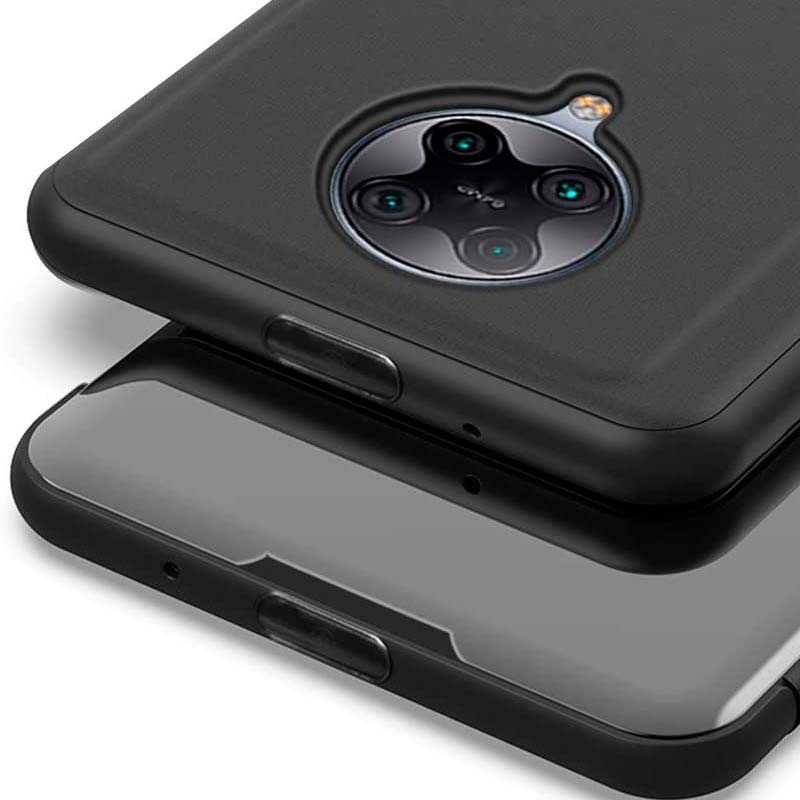 Azul TOPOFU Funda Xiaomi Poco F2 Pro Funda Ultra Delgado Transl/úcido Espejo Carcasa Funda Libro para Xiaomi Poco F2 Pro Case Flip Smart Clear View Standing Cover