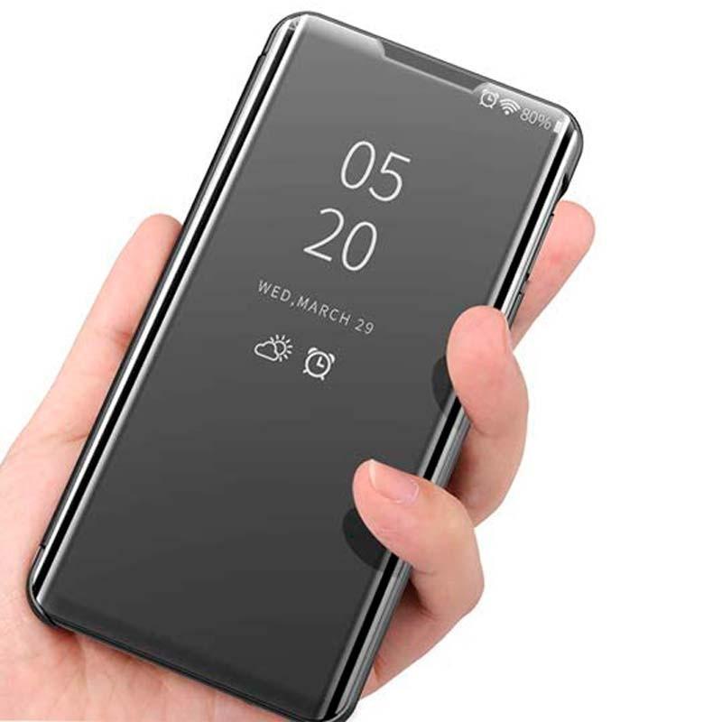 Negro TOPOFU Funda Xiaomi Poco F2 Pro Funda Ultra Delgado Transl/úcido Espejo Carcasa Funda Libro para Xiaomi Poco F2 Pro Case Flip Smart Clear View Standing Cover