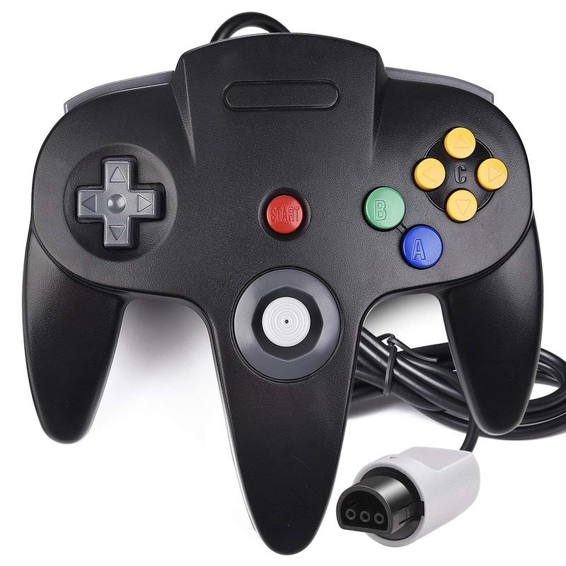 Gamepad N64 - Cor preta - Compatível com o Nintendo 64 Original - Gamepad Retro - Gamepad N64 - Conexão Original - Disponível em Cinzento, Preto, Vermelho, Azul e Verde