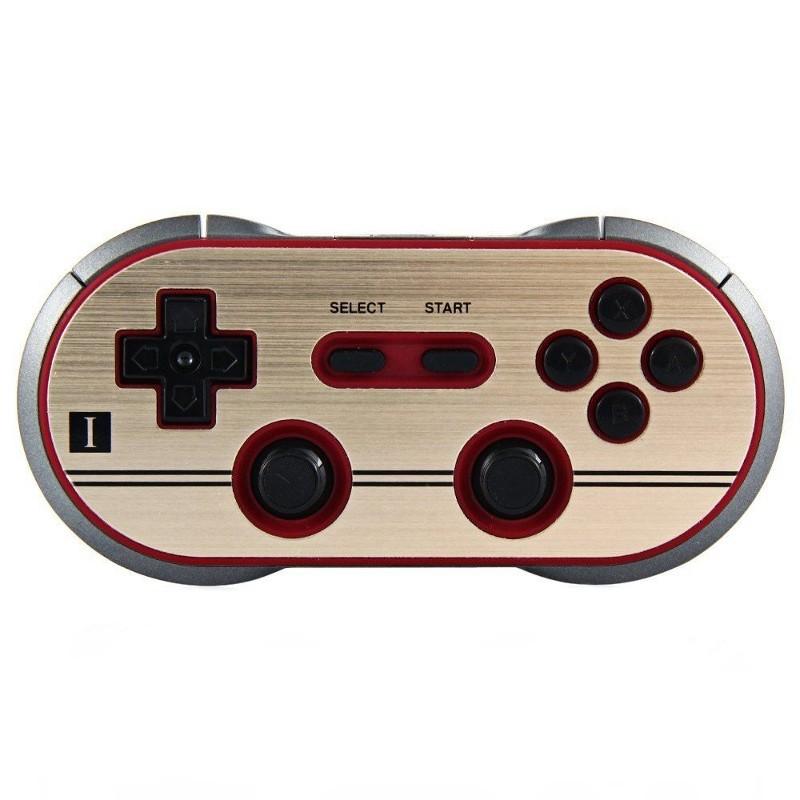 Gamepad 8bitdo F30 Pro - Área frontal do gamepad; botões mapeados, dois joysticks, crosshead, gatilhos (conexão sem fio compatível com switch, pc, etc.)
