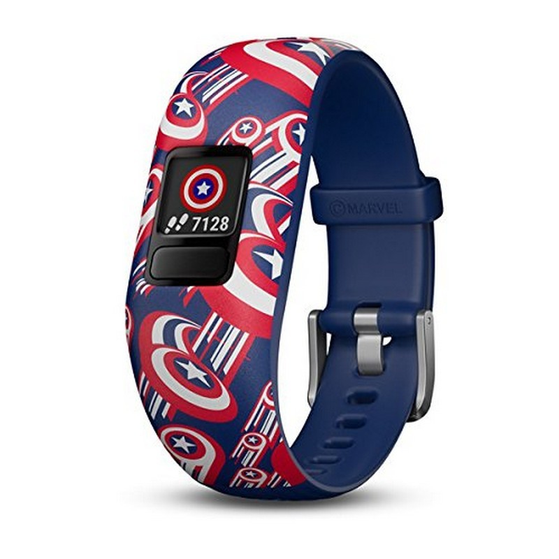 Garmin Vívofit JR 2 Marvel Captain America - Interactive Smartband - Special for Children - Daily Aims - Alerts - Remote Control - Smartphone Synchronization - Rugged 5ATM - Special Design Marvel El Capitán América