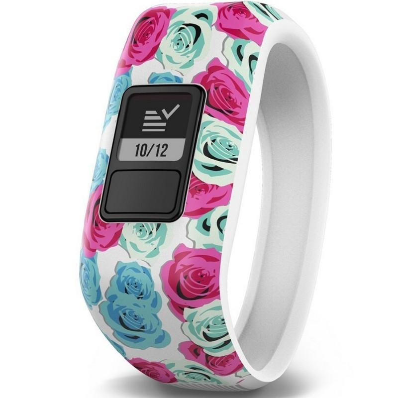 Garmin Vívofit JR Flor Branca - Branco com flores rosa e azul - Smartband Interativo - Especial para Crianças - Alvos Diários - Alertas - Controle Remoto - Sincronização de Smartphone - Robusto 5ATM