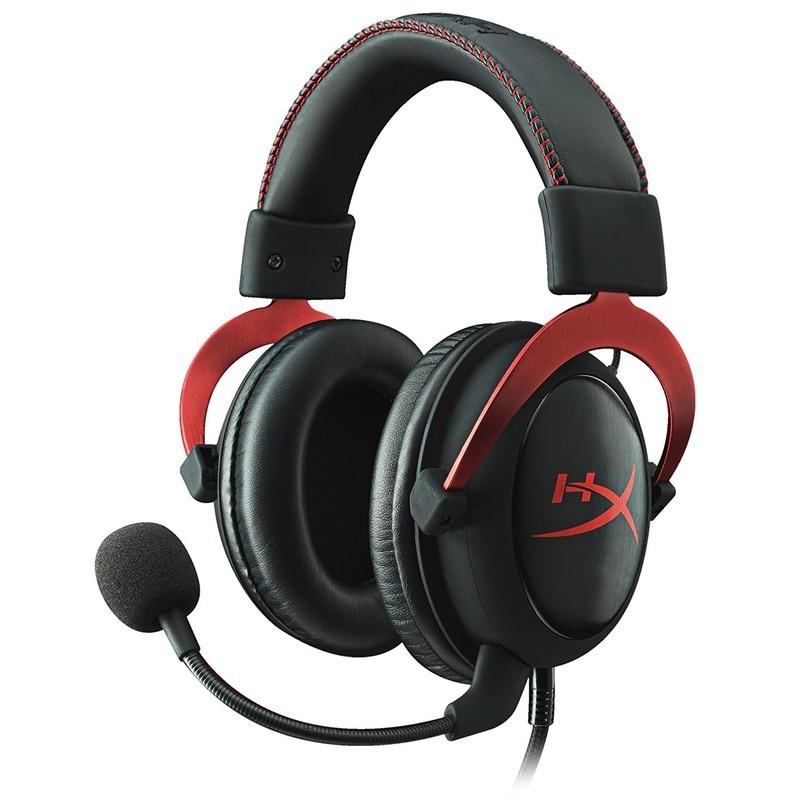 HyperX Cloud II Gaming Vermelho - Cor preta e vermelha - Almofadas de espuma de espuma de memória confortáveis com faixa de cabeça acolchoada de couro macio