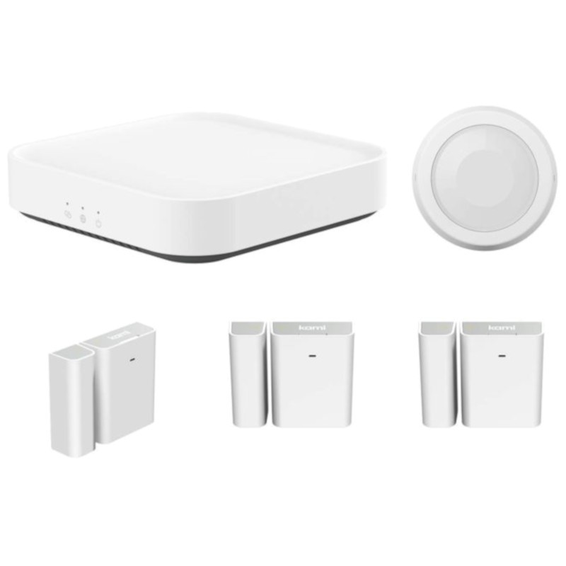 Kami Starter Pack Smart Security Base Station + 1 Kami Motion Sensor + 3 Kami Door/Window Sensor