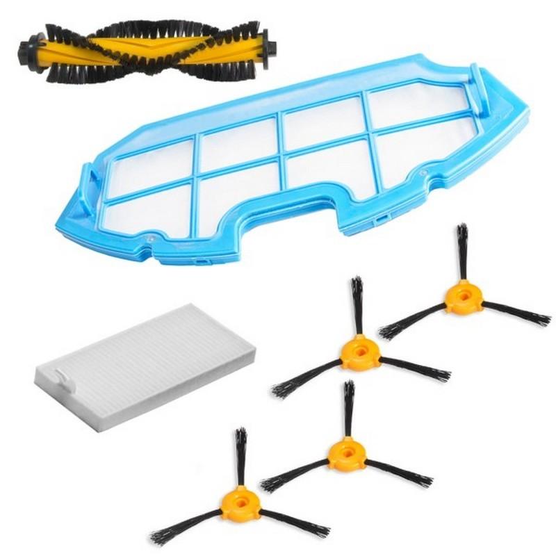 Kit de repuestos conga excellence y conga excellence 990 - Kit compuesto por: 4 x cepillos laterales 1 x cepillo central 1 x filtro HEPA 1 x filtro esponja