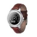 LEMFO LEM1 - Smartwatch - Color plata y correa de cuero (marrón) - Bluetooth 4.0 - Sincronización con Música Móvil - Alertas Sedentarias - Visualización SMS y mensajes - Contestar Llamadas - Micrófono - Diseño Wear - Podómetro - Monitor de Sueño - IP53