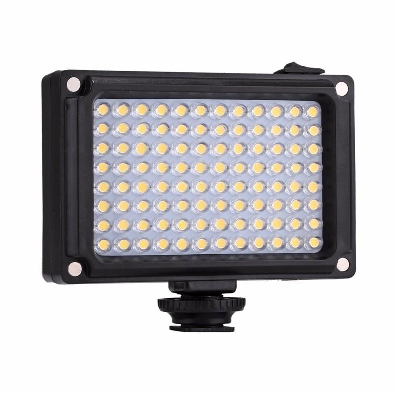 Luz LED de Relleno para Fotografía - Accesorio Cámara Réflex - Ajustar Intensidad - 96 Puntos LED - Temperatura3200 - 5600K - Filtro Cálido - Cámara Réflex - Trípode - 1/4 Pulgadas - 4 x AA -Brillo: 860LM
