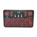 Mini Teclado Bluetooth Q9 LED - teclado RGB retroiluminado vermelho (teclado + touchpad)