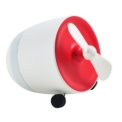Mini Fan with Bluetooth Speaker - White and red color - Battery 2200 mAh - Bluetooth 2.0 + EDR - Power 2.5W - Transportable Mini Fan - Rotation Speed 13000 ± 10% RPM