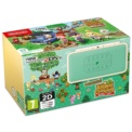 Nintendo New 2DS XL Animal Crossing + Animal Crossing Welcome Amiibo Pré-instalado - capa verde com decoração Animal Crossing (quadrado com árvores e logotipo do jogo), corpo do console branco