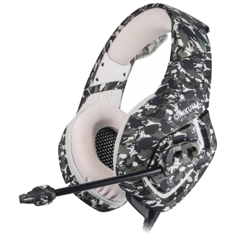 ONIKUMA K1B Cinzento Camuflagem - Auscultadores Gaming