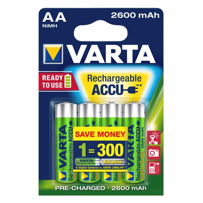 Pack 4x Pilas Recargables Varta AA ACCU Power 2600 mAh NiMH
