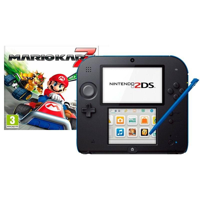 Pack Nintendo 2DS Negro/Azul + Mario Kart 7