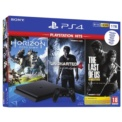 PlayStation 4 Slim 1TB (PS4) + Playstation Hits V2 (Games Uncharted 4 + Horizon Zero Down + The Last of Us)