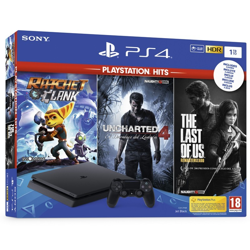 PlayStation 4 Slim 1TB (PS4) + Playstation Hits (Uncharted 4 + Ratchet and Clank + The Last of Us)