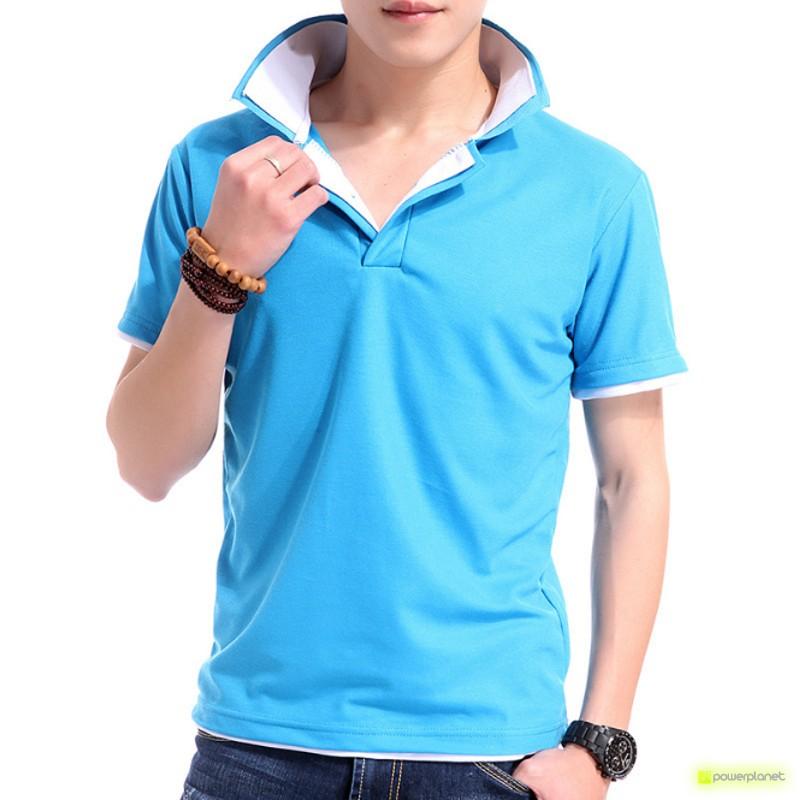 Polo Up Collar Azul e Branco - Homen