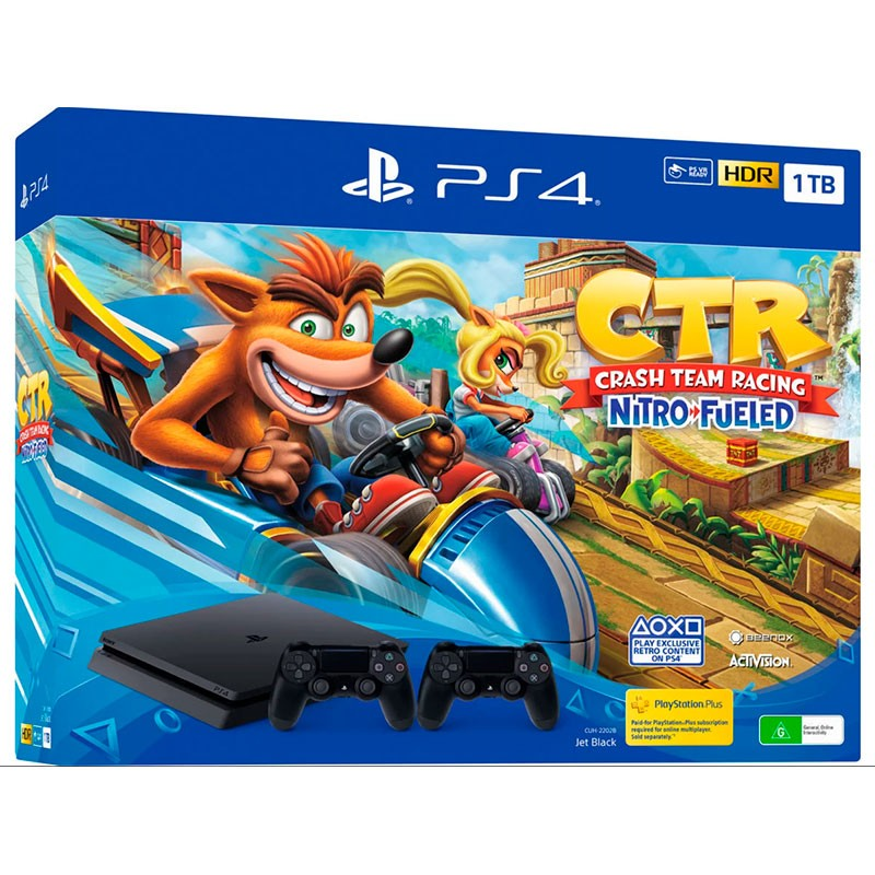 PlayStation 4 Slim 1 TB (PS4) + Crash Team Racing Nitro-Fueled + 2 Controller Sony PS4 Dualshock Black V2