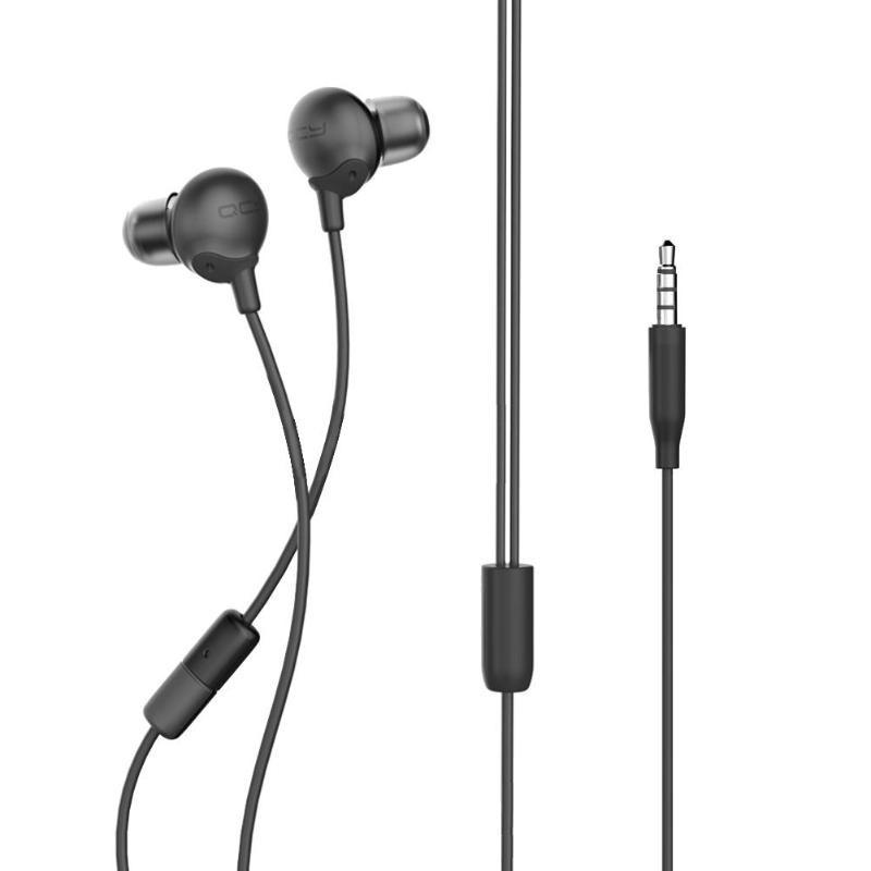 QCY QM05 - Auriculares - Color negro - Cable 1.2 Meros - Conexión 3.5 mm - Driver 13 mm - Auriculares In-Ear - Micrófono con Función Manos Libres - Disponible en color rojo, negro y blanco - Diseño de Pintura Metálica