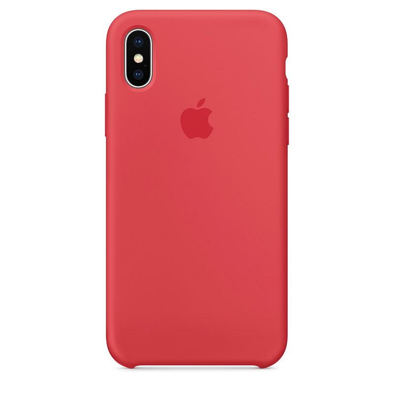 Capa em silicone para iPhone XS em cor Framboesa Vermelha