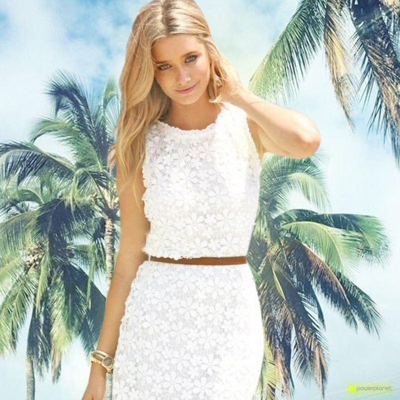 Vestido de encaje sin mangas Blanco - Mujer