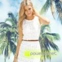 Sleeveless Lace Dress White - Women