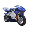 Skate Flash POCKET Mini Moto Eléctrica Azul - Azul y blanca (línea blanca que atraviesa el lomo del cuerpo) - Frenos (Disco, Delantero y Trasero) - Velocidad Máxima 25 km/h - Carga 4-6 horas - 3 Velocidades - Desplazamiento Urbano