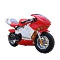 Skate Flash POCKET Mini Moto Eléctrica Roja - Rojo y línea blanca atravesando el lomo de la moto - Frenos (Disco, Delantero y Trasero) - Velocidad Máxima 25 km/h - Carga 4-6 horas - 3 Velocidades - Desplazamiento Urbano