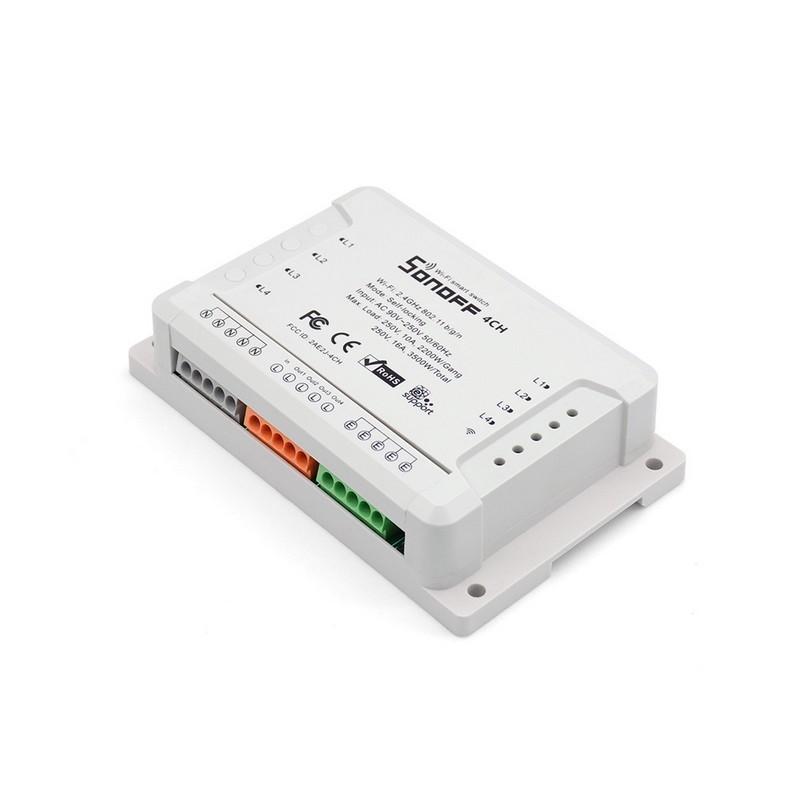 Sonoff 4CH R2 Switch WiFi - Smart Switch Control - Switch visto por delante (permite el control de 4 aparatos conectados vía wifi)