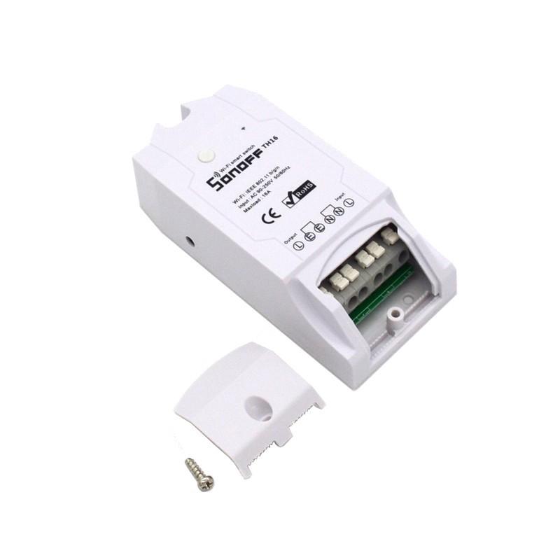 Sonoff TH16 Switch WiFi - Smart Control Temperatura / Humidade - Detalhe do switch (destaca-se por criar um sistema inteligente de produtos conectados conectados que são activados dependendo de variáveis de medição de temperatura e humidade