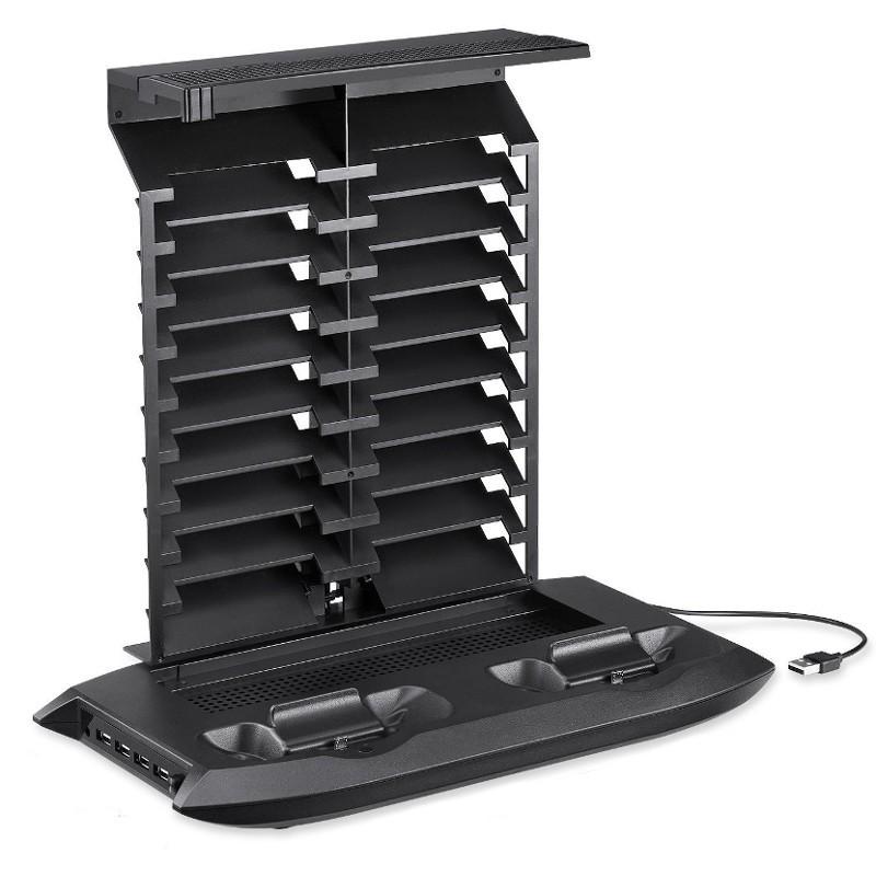 Soporte Pro Xbox One S 4 USB/Estación de Carga Mandos/18 Ranuras para Videojuegos/Ventilador