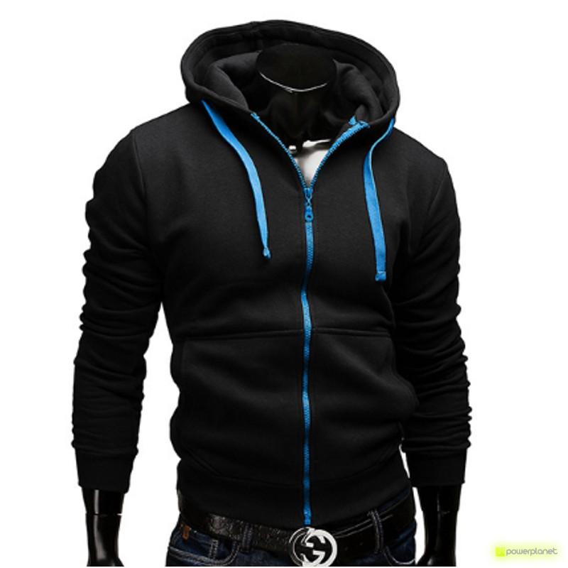 Sudadera Color Zipper Negro - Hombre