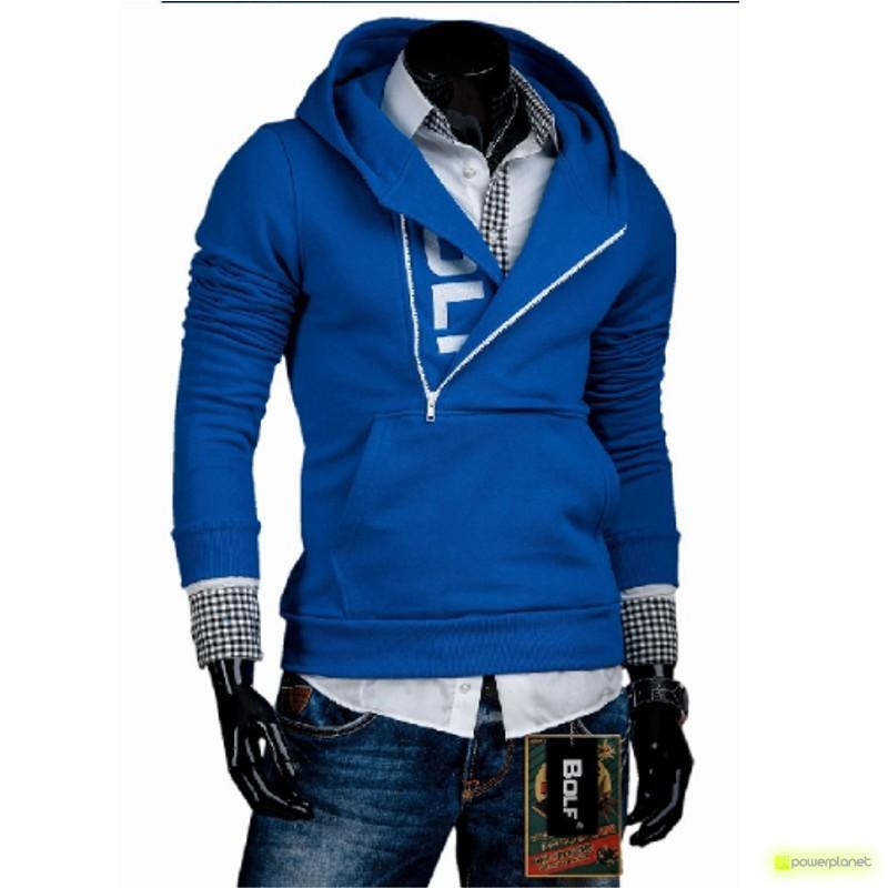 Sudadera Lateral Zipper azul y blanco - Hombre