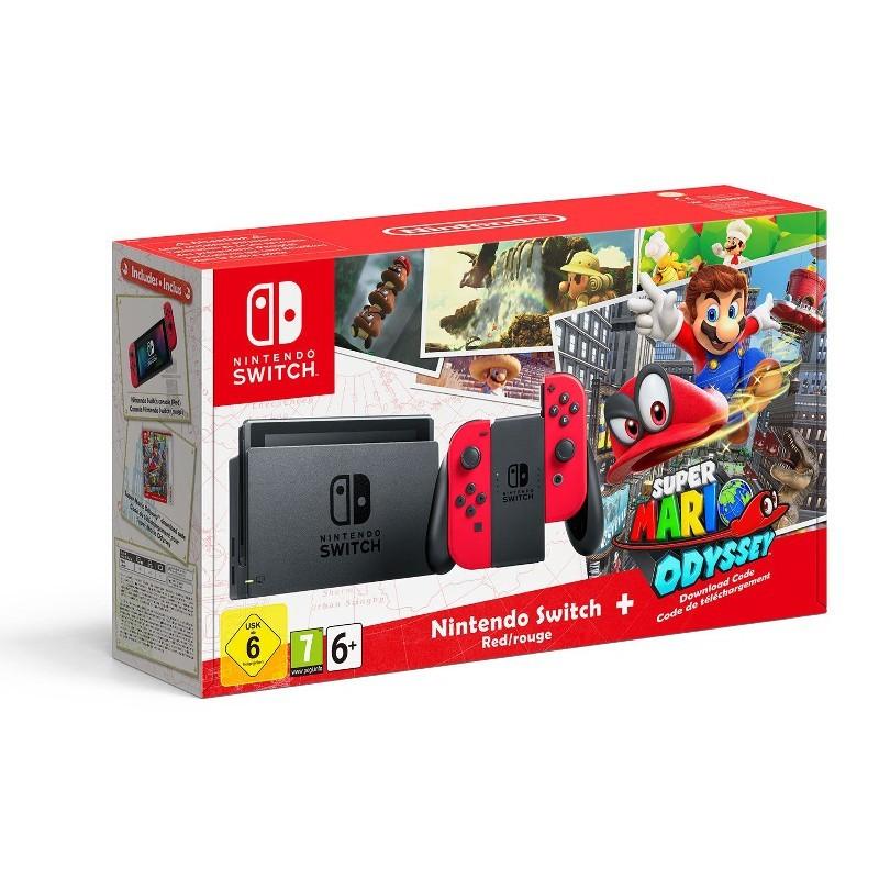 Nintendo Switch Rojo Neon + Super Mario Odyssey