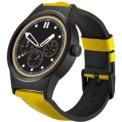 TCL Movetime MT10G Negro con Correa Amarilla - Smartwatch - Bluetooth 4.0, WiFi, correa de cuero, pantalla 1,39 pulgadas AMOLED, pantalla táctil, notificación de llamadas y mensajes, contestar llamadas, micrófono, cambio de pistas por movimiento
