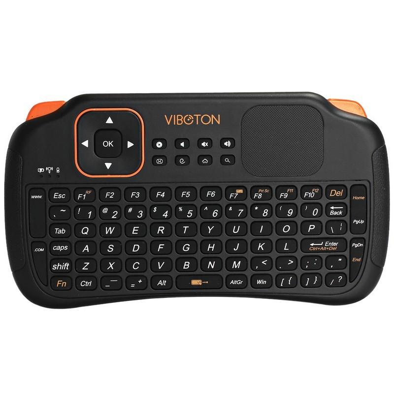 Teclado Bluetooth Viboton S1 Touchpad + Air Mouse - Teclado americano (sem letra ñ), tamanho mini, touchpad, receptor sem fio USB, autonomia 4 horas, smart tv, tv android, air mouse function
