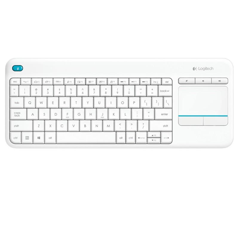 Keyboard Wireless K400 Plus con Touch Keyboard White