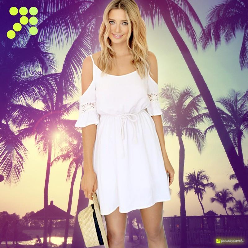 Vestido sin mangas veraniego Blanco - Mujer