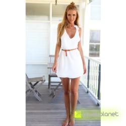 Vestido Blanco Espalda Floral - Ítem3