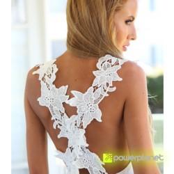 Vestido Blanco Espalda Floral - Ítem2